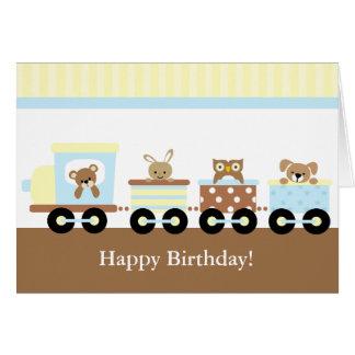 Cartão Aniversário de criança do trem do brinquedo