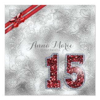 Cartão Aniversário de prata ID382 vermelho de Quinceanera