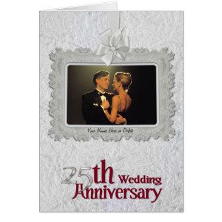 Cartão Aniversário de prata - janela larga da foto