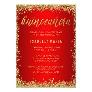 Cartão Aniversário de Quinceanera do brilho vermelho do
