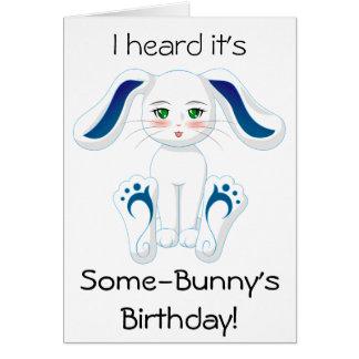 Cartão Aniversário Desejo da senhorita Coelho (vazio para