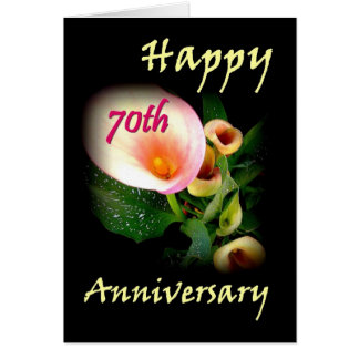 Cartão aniversário do 70 com lírios de Calla