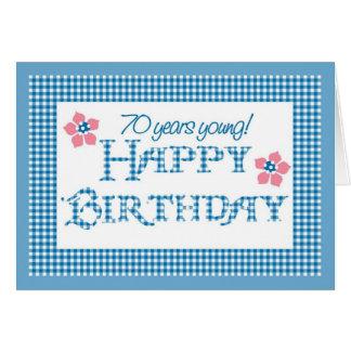 Cartão aniversário do 70, teste padrão azul do guingão da
