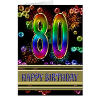 Cartão aniversário do 80 com bolhas e fogos-de-artifício