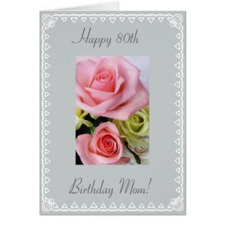 Cartão Aniversário do 80 da mãe