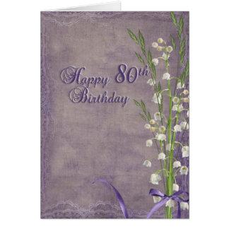 Cartão aniversário do 80 e lírio do vale