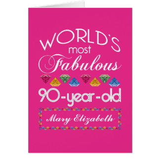 Cartão aniversário do 90 a maioria de rosa colorido
