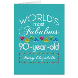 Cartão aniversário do 90 a maioria de turquesa colorida