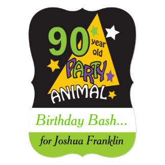 Cartão Aniversário do 90 do animal de partido | das