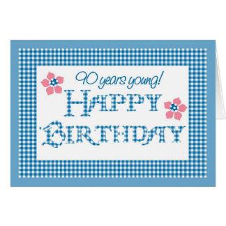 Cartão aniversário do 90, teste padrão azul do guingão da