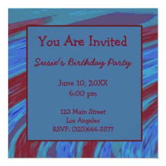 Cartão Aniversário do abstrato da abanada da cor de azul