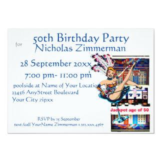 Cartão Aniversário do artista e do slot machine de Las