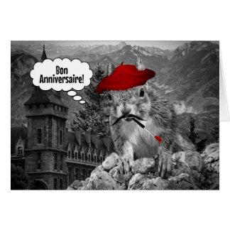Cartão Aniversário do artista francês do esquilo
