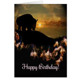 Cartão Aniversário do búfalo do coletor do sonho de