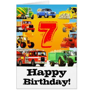 Cartão Aniversário do caminhão da construção do miúdo 7o