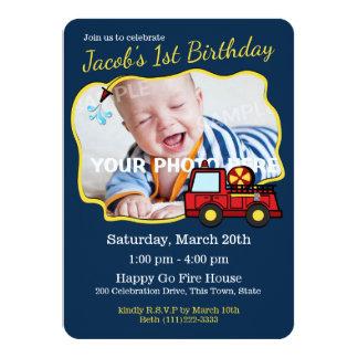 Cartão Aniversário do carro de bombeiros com foto