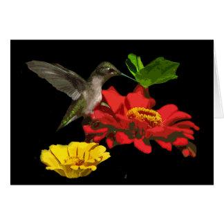 Cartão Aniversário do colibri e dos Zinnias