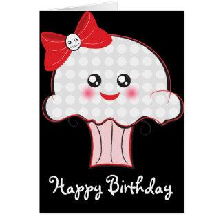 Cartão Aniversário do cupcake do crânio de Kawaii