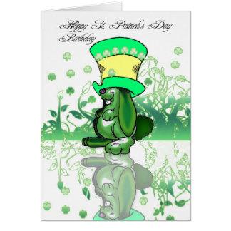 Cartão Aniversário do dia de St Patrick Hoppy, santo