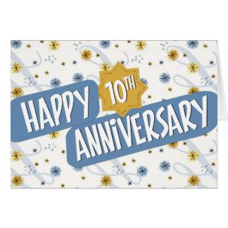 Cartão Aniversário do empregado 10 anos de teste padrão