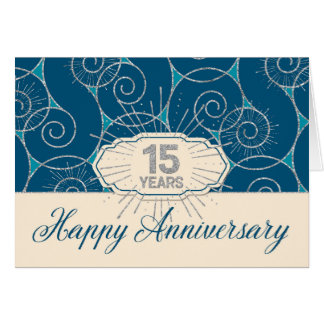 Cartão Aniversário do empregado 15 anos - redemoinhos do
