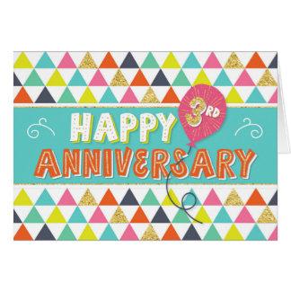 Cartão Aniversário do empregado 3 anos - teste padrão