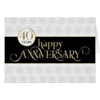 Cartão Aniversário do empregado 40th - ouro preto