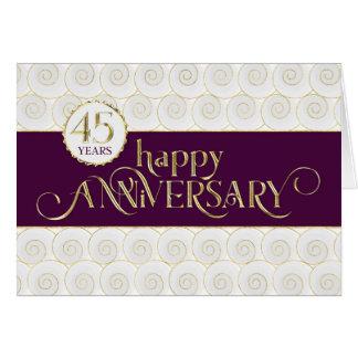 Cartão Aniversário do empregado 45th - ouro prestigioso