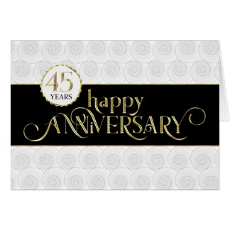 Cartão Aniversário do empregado 45th - ouro preto