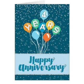 Cartão Aniversário do empregado 4 anos - confetes dos