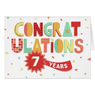 Cartão Aniversário do empregado 7 anos de parabéns do