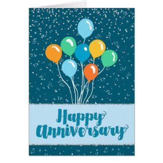 Cartão Aniversário do empregado - balões e confetes