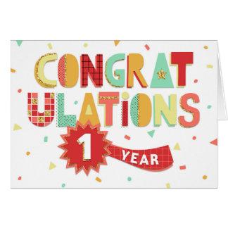 Cartão Aniversário do empregado parabéns de 1