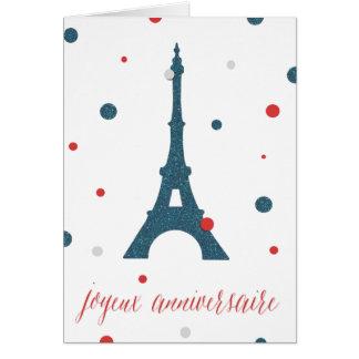 Cartão Aniversário do francês da torre Eiffel