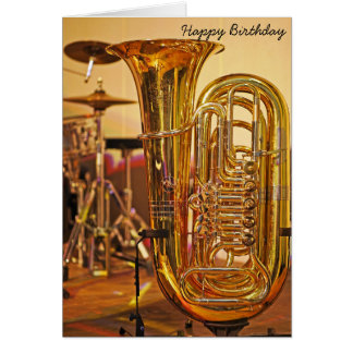 Cartão Aniversário do instrumento de bronze da tuba