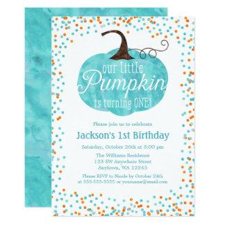 Cartão Aniversário do menino dos confetes da abóbora da
