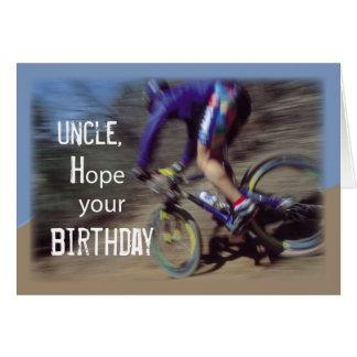 Cartão Aniversário do Mountain bike do tio Esporte