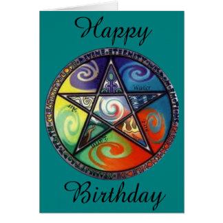 Cartão Aniversário do Pentagram de Wiccan