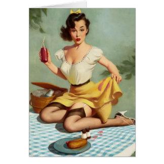 Cartão Aniversário do Pinup do piquenique do vintage