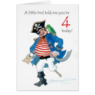 Cartão Aniversário do pirata e do papagaio do