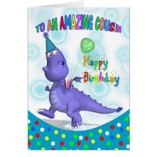 Cartão Aniversário do primo com bebida roxa e Ballo do