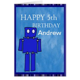 Cartão Aniversário do robô 5o