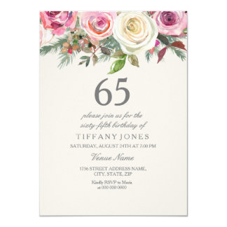 Cartão Aniversário do rosa branco 65th 66th 67th 68th