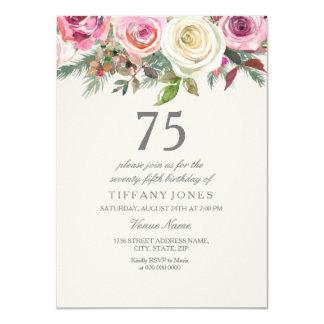 Cartão Aniversário do rosa branco 75th 76th 77th 78th