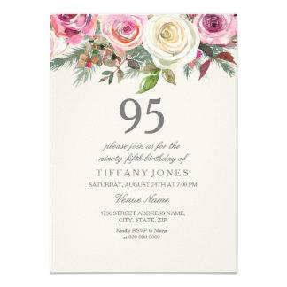 Cartão Aniversário do rosa branco 95th 96th 97th 98th