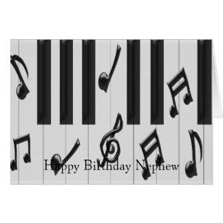 Cartão Aniversário do sobrinho do teclado de piano