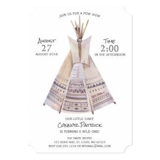 Cartão Aniversário do Teepee asteca de Boho primeiro