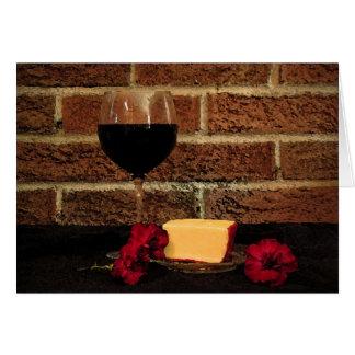 Cartão Aniversário do vinho e do queijo