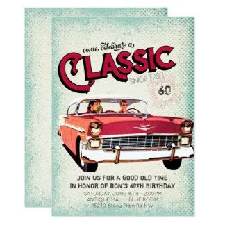 Cartão Aniversário do vintage clássico do carro | do meio