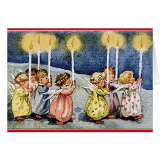 Cartão Aniversário dos anjos do vintage